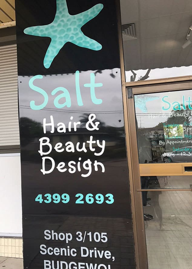 salt sign outside hair salon